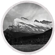 Mount Rundle At Banff National Park Round Beach Towel