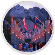 Mount Rushmore At Night Round Beach Towel
