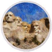 Mount Rushmore Monument Photo Art Round Beach Towel
