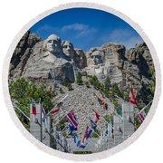 Mount Rushmore National Memorial Round Beach Towel