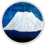 Mount Shasta Original Painting Round Beach Towel