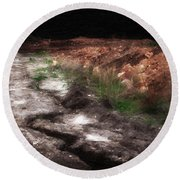 Mount Trashmore - Series Iv - Painted Photograph Round Beach Towel