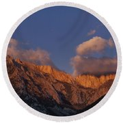 Mount Whitney In Clouds Alabama Hills Eastern Sierras California  Round Beach Towel