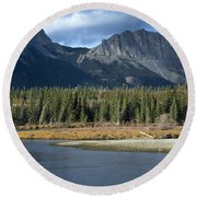 Mount Yamnuska Round Beach Towel