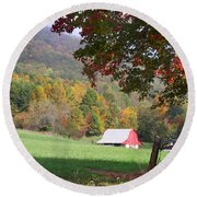 Mountain Barn Round Beach Towel