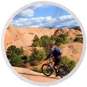 Mountain Biking Moab Slickrock Trail - Utah Round Beach Towel