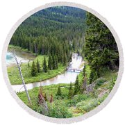 Mountain Bridge Round Beach Towel