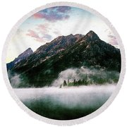 Mountain By The Lake Round Beach Towel