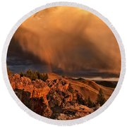 Mountain Drama Round Beach Towel