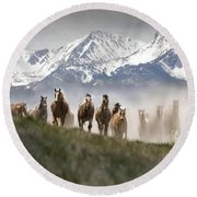 Mountain Dust Storm Round Beach Towel