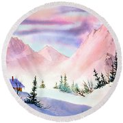 Mountain Glow Round Beach Towel