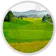 Mountain Golf Round Beach Towel by Frozen in Time Fine Art Photography