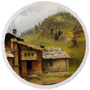 Mountain House  Round Beach Towel by Albert Bierstadt