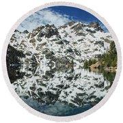 Mountain In The Mirror Round Beach Towel