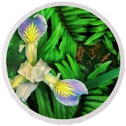 Mountain Iris And Ferns Round Beach Towel