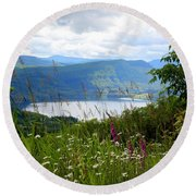 Mountain Lake Viewpoint Round Beach Towel by Carol Groenen