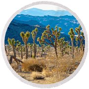 Mountain Layer Landscape From Quail Springs In Joshua Tree Np-ca- Round Beach Towel