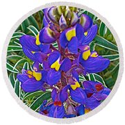 Mountain Lupine In Ancient Incan Pisac In Andes Mountains Above Sacred Valley-peru   Round Beach Towel