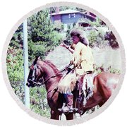 Mountain Man On A Horse Round Beach Towel