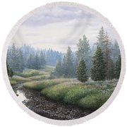 Mountain Meadow Round Beach Towel