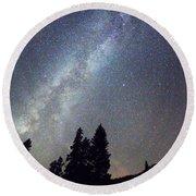 Mountain Milky Way Stary Night View Round Beach Towel