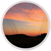 Mountain Mornings Round Beach Towel