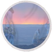 Mountain Of Blessing Round Beach Towel