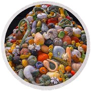 Mountain Of Gourds And Pumpkins Round Beach Towel