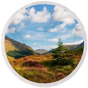 Mountain Pastoral. Rest And Be Thankful. Scotland Round Beach Towel