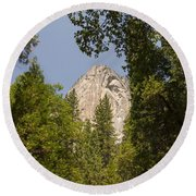 Mountain Peak In Yosemite National Park Round Beach Towel