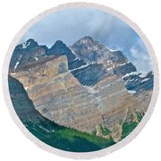 Mountain Peaks From Bow Summit Along Icefield Parkway In Alberta Round Beach Towel