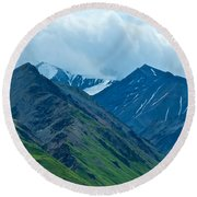 Mountain Peaks From Eielson Visitor's Center In Denali Np-ak Round Beach Towel