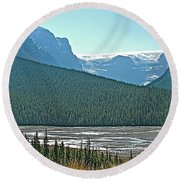 Mountain Peaks From Icefields Parkway-alberta Round Beach Towel