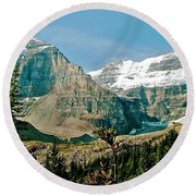 Mountain Peaks From Plain Of Six Glaciers Trail In Banff Np-albe Round Beach Towel