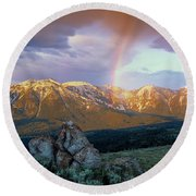 Mountain Rainbow Round Beach Towel