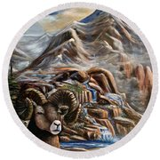 Mountain Ram Round Beach Towel