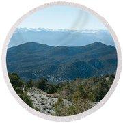 Mountain Range, White Mountains Round Beach Towel