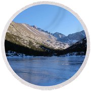 Mountain Reflection On Frozen Lake Round Beach Towel