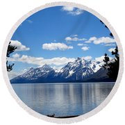 Mountain Reflection On Jenny Lake Round Beach Towel by Dan Sproul