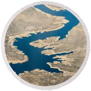 Mountain River From The Air Round Beach Towel