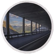 Mountain Road And Tunnel Round Beach Towel