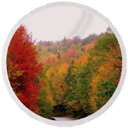 Mountain Road In Fall Round Beach Towel