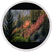 Mountain Side Colors Round Beach Towel