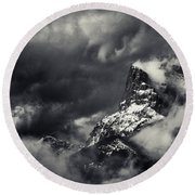 Mountain Storm Banff Round Beach Towel