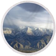 Mountain Storm Round Beach Towel