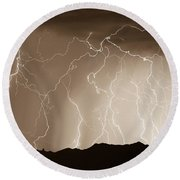 Mountain Storm - Sepia Print Round Beach Towel