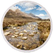 Mountain Stream From Beinn Eighe Round Beach Towel