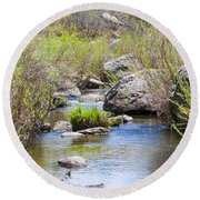 Mountain Stream In Castlewood Canyon State Park Round Beach Towel