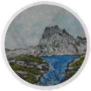Mountain Stream Round Beach Towel