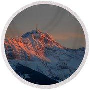 Mountain Sunset In Switzerland Round Beach Towel